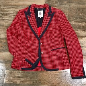Juicy Couture Red Blue Houndstooth Blazer
